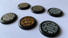 Load image into Gallery viewer, Base Inserts for for Warmachine/Hordes, Malifaux, Dark Age, Wrath of Kings, and other round lipped skirmisher model bases.