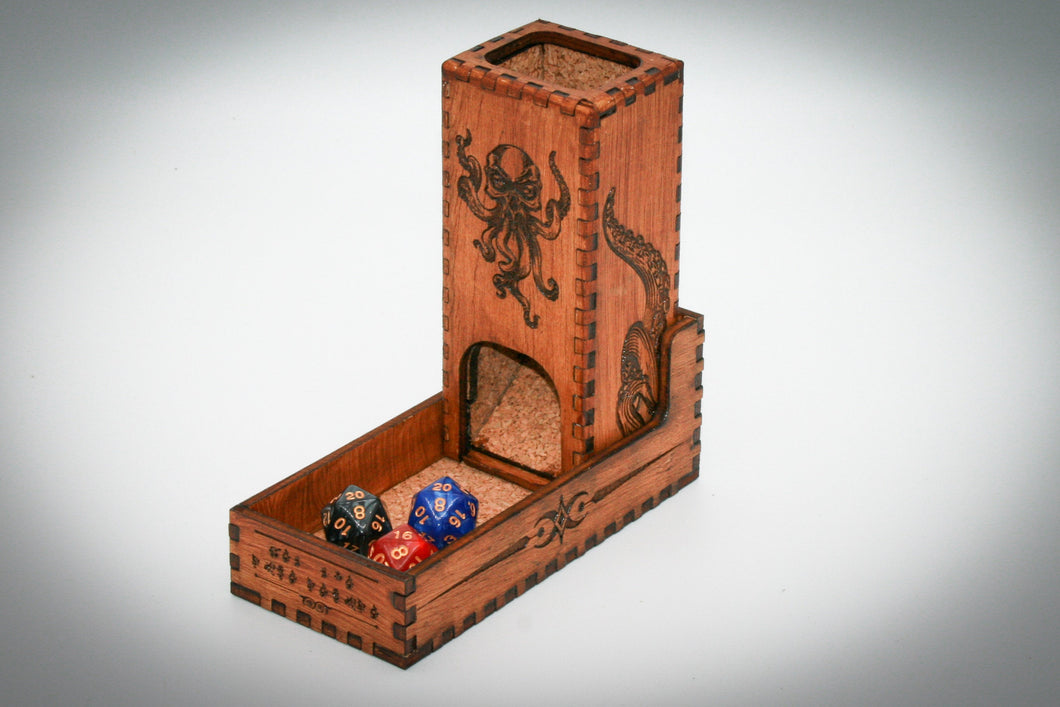 Dice Tower and Dice Storage for Lovecraft Cthulhu eldritch gift for dungeon master, dark, engrave, customize, brass, bronze, vintage