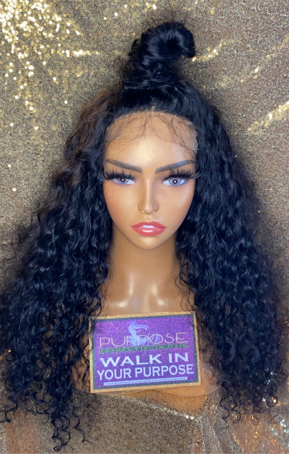 22 inch with 5x5 HD closure Brazilian Loose Curly Wig