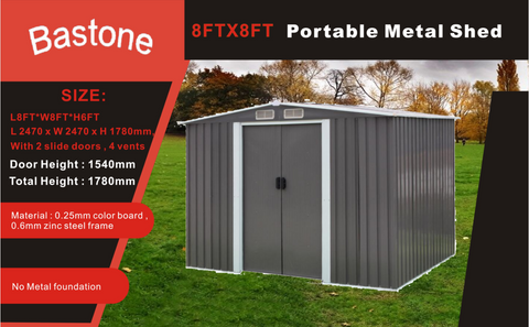 Portable Metal shed 8'X8'