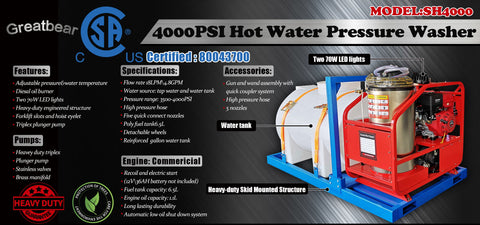 Greatbear Hot Water Pressure Washer with Water Tank