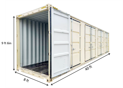 40ft High Cube Container with 4 Side Doors
