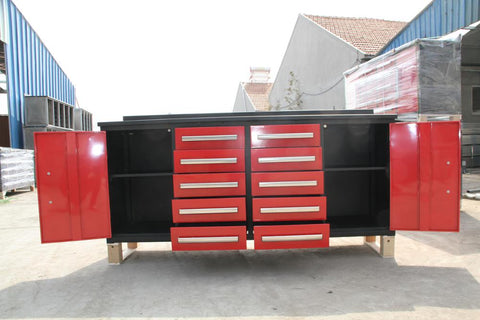 Steelman 7 FT Work Bench with 10 Drawers & 2 Cabinets