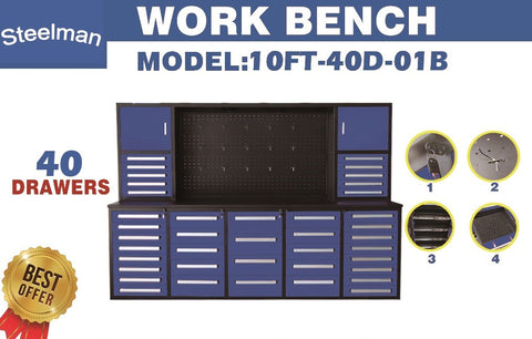 Steelman 10 FT Work Bench with 40 Drawers