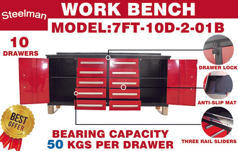 Steelman 7' Storage Cabinets with Workbench (10 Drawers & 2 Cabinets)
