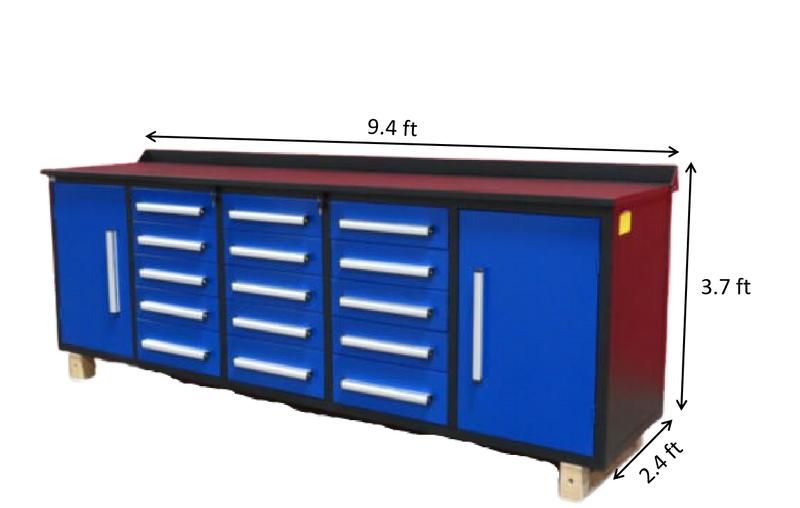 Steelman 10 FT Storage Cabinet with Work Bench (15 Drawers & 2 Cabinets)