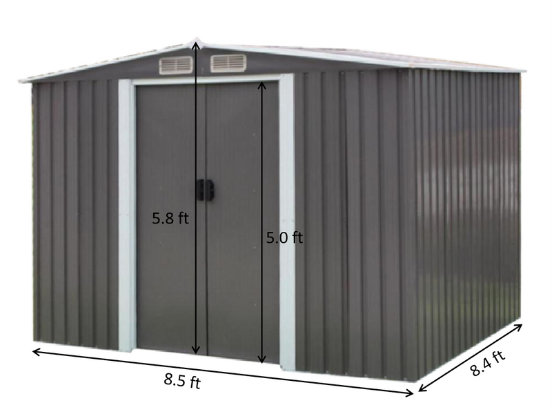 Bastone Portable Metal Storage Shed 8'x8'