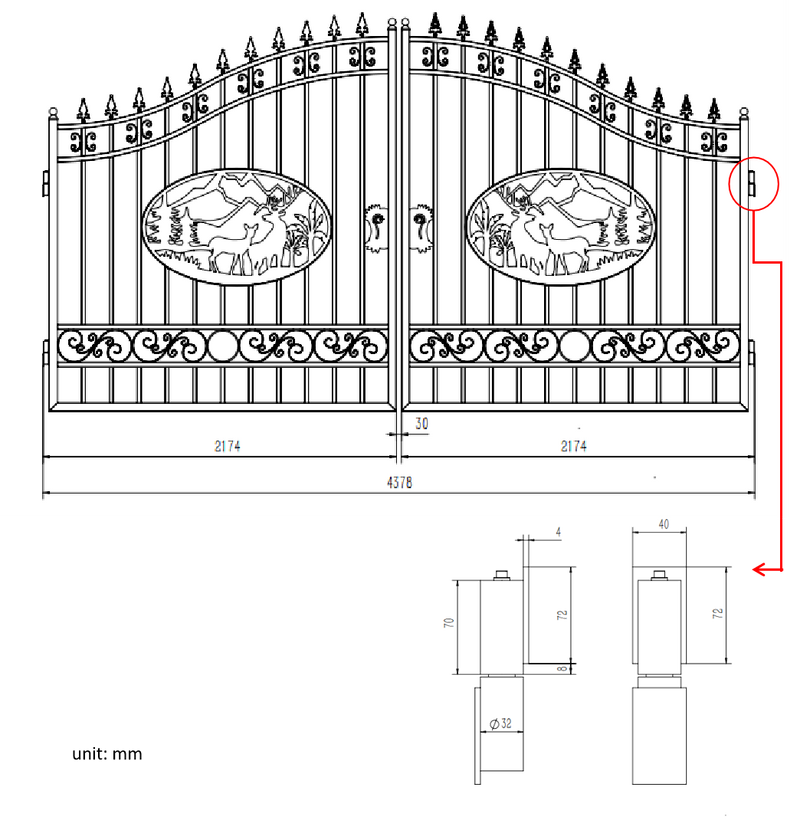 Greatbear Dual Swing Wrought Iron Gate for Driveway