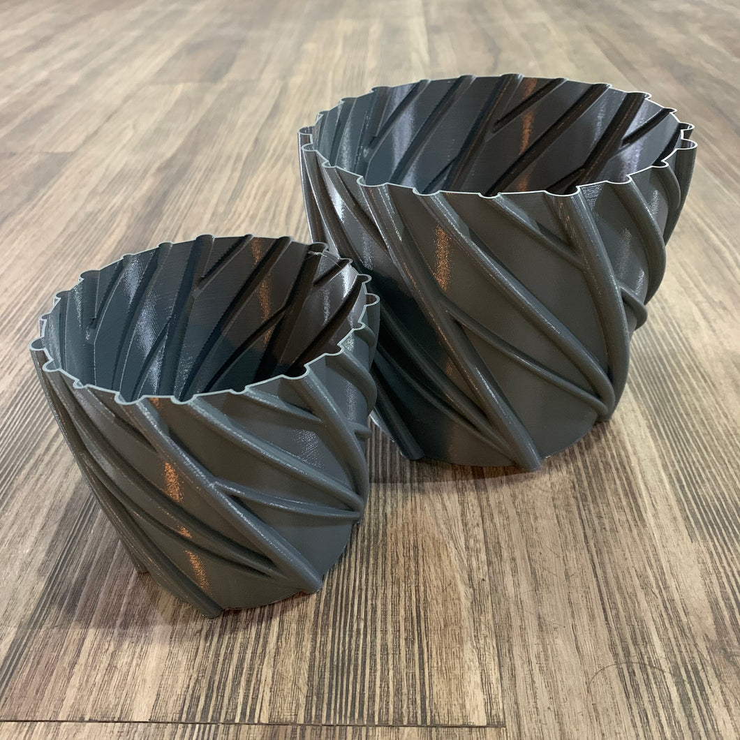 Slate Grey 3D Printed Branches Pot