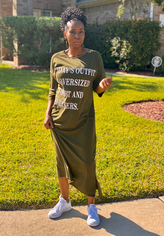 Today's Outfit Olive Casual Maxi Tee-Dress