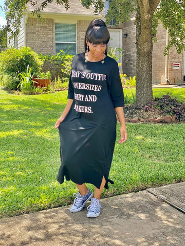 Today's Outfit Black Casual Maxi Tee-Dress