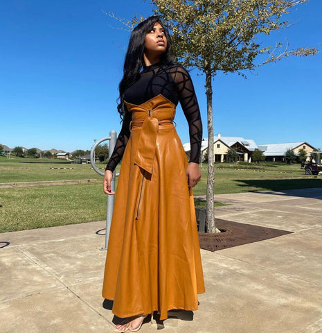 AUBREY Brown High waist maxi leather skirt