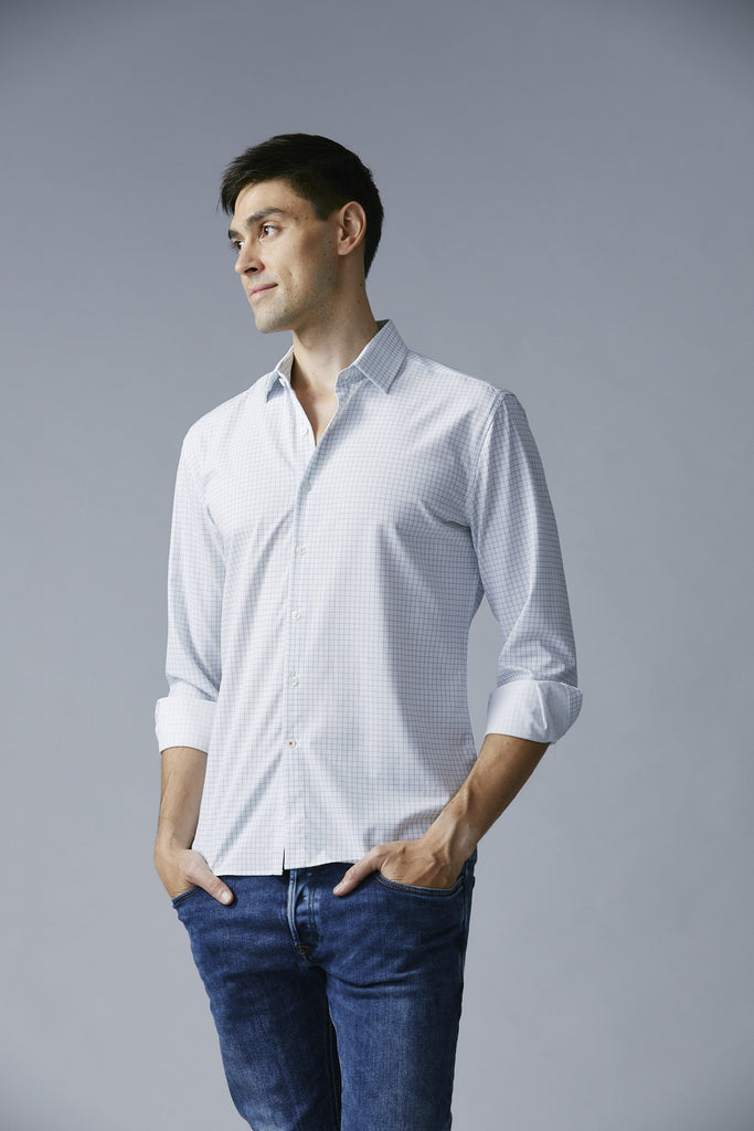 Deep V neck that sits lower than the second button to allow for a more casual, unbuttoned look