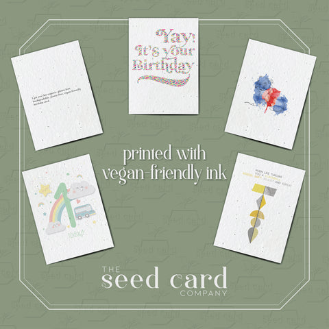 our seed cards use vegan friendly ink