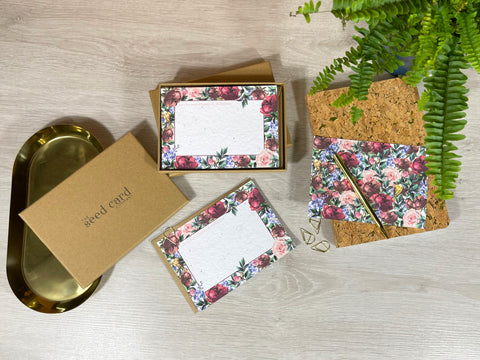 image if notecards made with seed cards for a wedding.