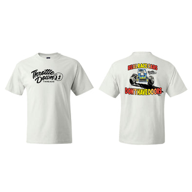 Throttle Down Threads Real Race Cars Tee - White