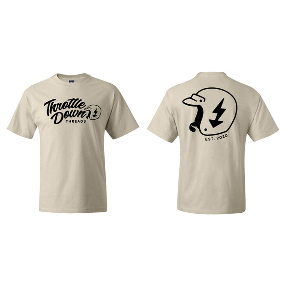 Donation Shirt - Throttle Down Threads Logo Unisex Tee - Natural or Black