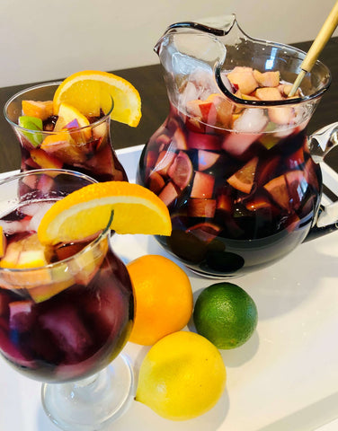 Non-Alcoholic Red Sangria Pitcher and Glasses