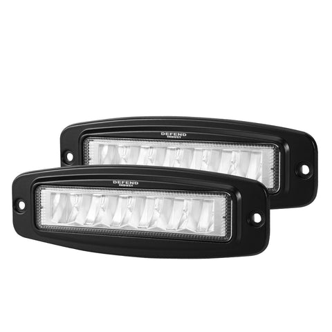 DEFEND Pair 6 inch Cree Flush Mount Led Work Light Bar Flood Fog Lamp Reverse 4WD