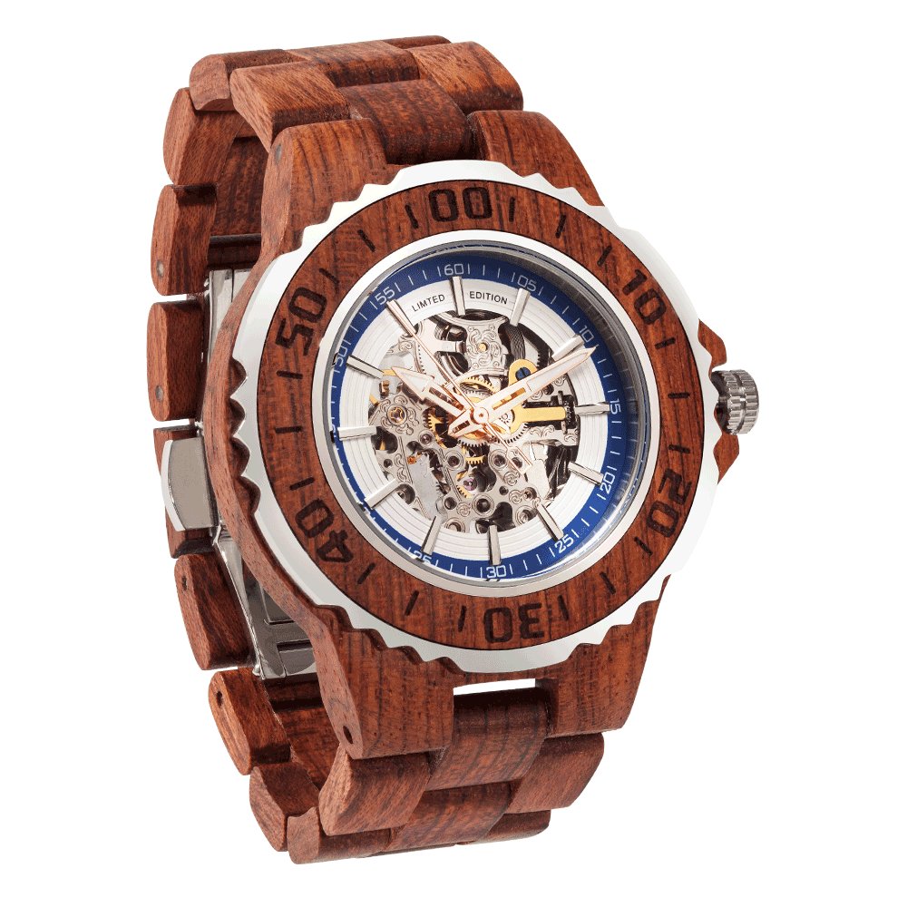 Men Genuine Automatic Kosso Wooden Watches No Battery Needed