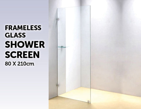 800 x 2100mm Frameless 10mm Safety Glass Shower Screen