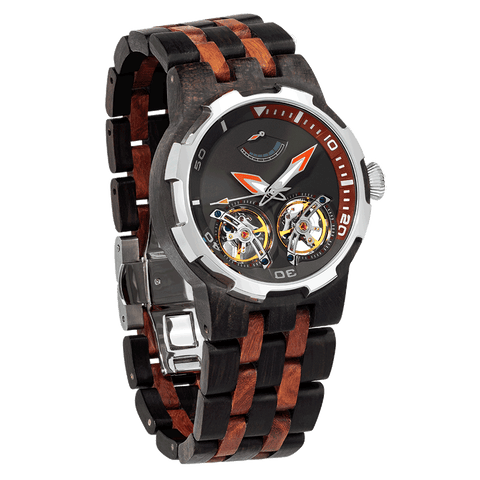 Men Dual Wheel Automatic Ebony & Rosewood Watch