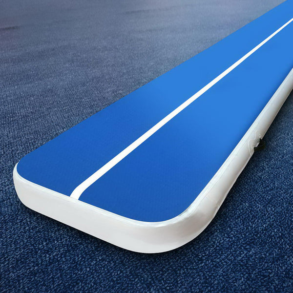 6m x 1m Inflatable Air Track Mat 20cm Thick Gymnastic Tumbling Blue And White