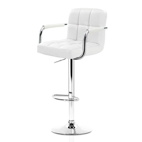 Artiss 2x Bar Stools Gas lift Swivel Chairs Kitchen Armrest Leather Chrome White