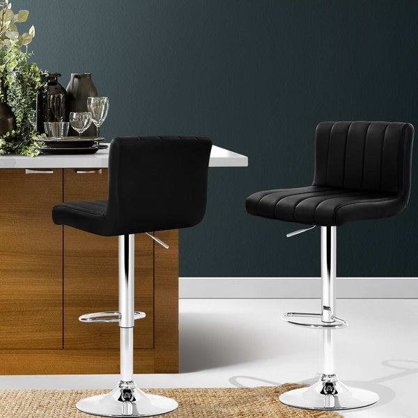 Artiss 2x Leather Bar Stools Kitchen Chair Bar Stool Black Lana Gas Lift Swivel