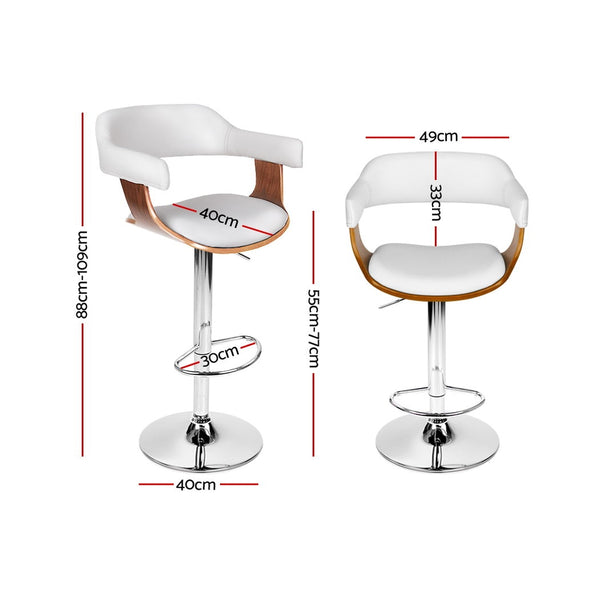 Artiss Wooden Bar Stool - White