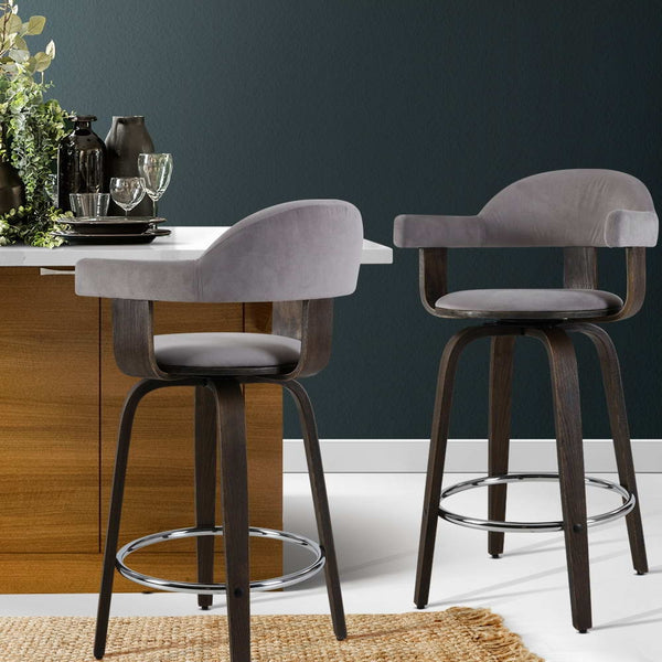 Artiss 2x Bar Stools Wooden Swivel Bar Stool Kitchen Dining Chair Wood Grey