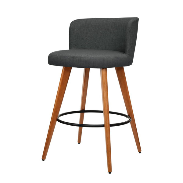Artiss 2x Wooden Bar Stools Modern Bar Stool Kitchen Fabric Charcoal