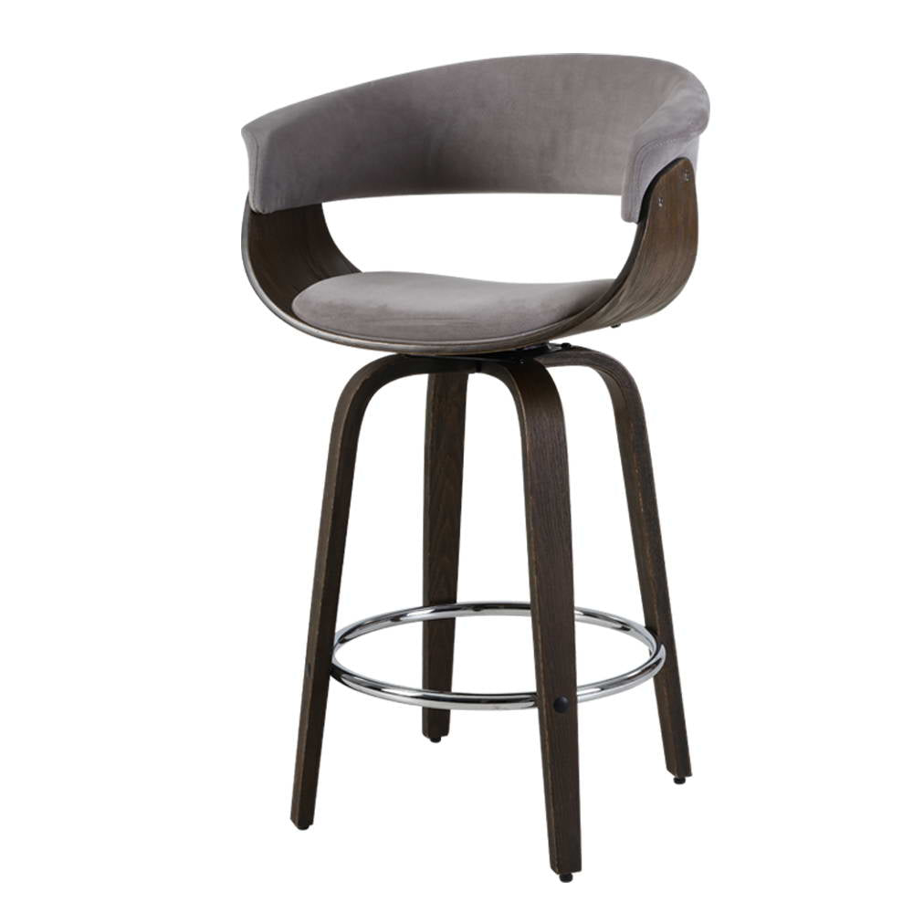 Artiss Bar Stool Wooden Swivel Bar Stool Kitchen Dining Chair Wood Grey