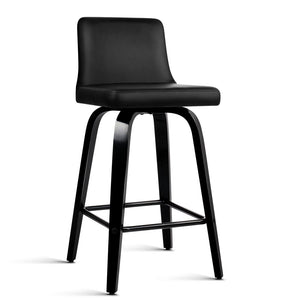 Artiss Set of 2 Wooden Bar Stool - Black