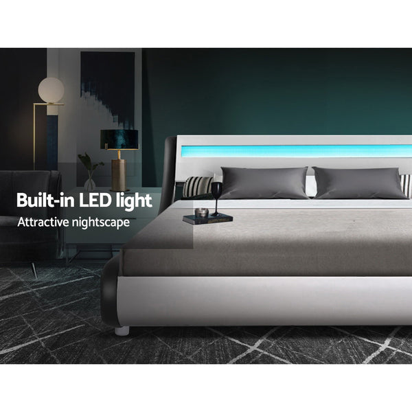 Artiss LED Bed Frame Double Full Size Base Mattress Platform Leather Wooden ALEX