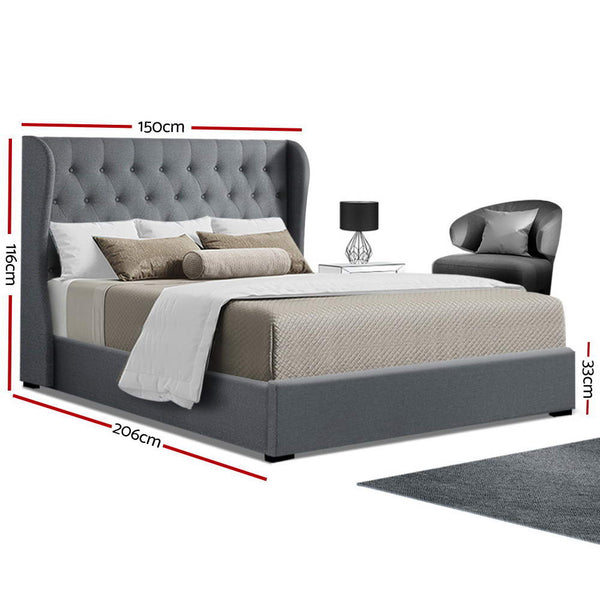 Artiss Double Full Size Gas Lift Bed Frame Base With Storage Mattress Grey Fabric Wooden