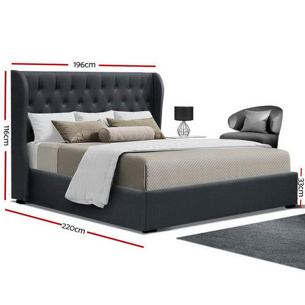 Artiss King Size Gas Lift Bed Frame - Charcoal