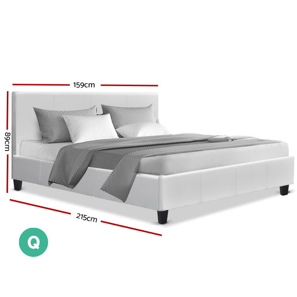 Bed Frame Queen Size Base Mattress Platform Full Size Leather Wooden White NEO