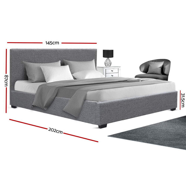 Artiss Double Size Fabric and Wood Bed Frame Headboard - Grey