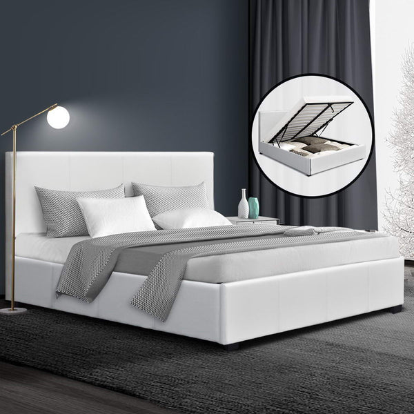 Artiss Double Size PU Leather and Wood Bed Frame Headboard -White