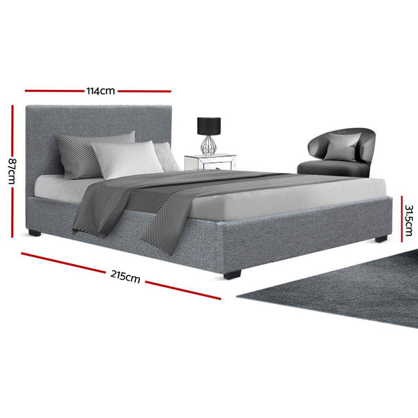 Artiss King Single Size Gas Lift Bed Frame Base With Storage Mattress Grey Fabric NINO