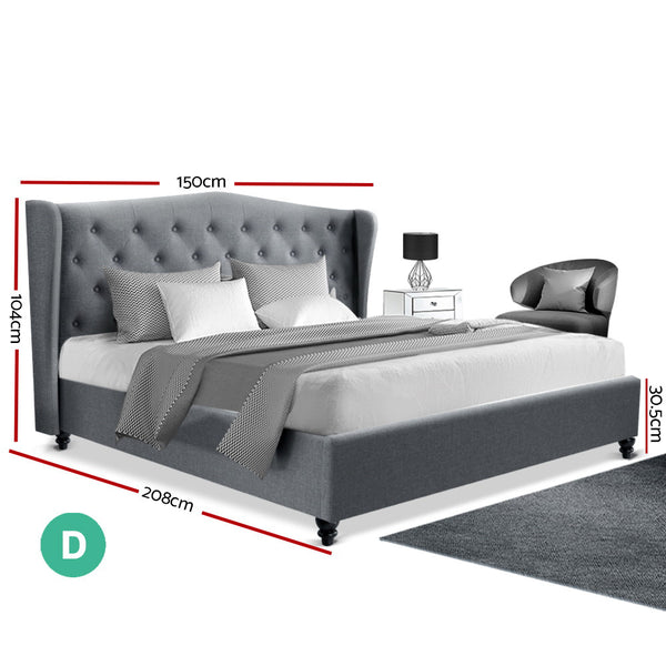 Artiss Double Size Wooden Upholstered Bed Frame Headboard - Grey
