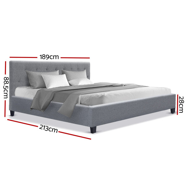 Artiss King Size Bed Frame Base Mattress Platform Fabric Wooden Grey VANKE