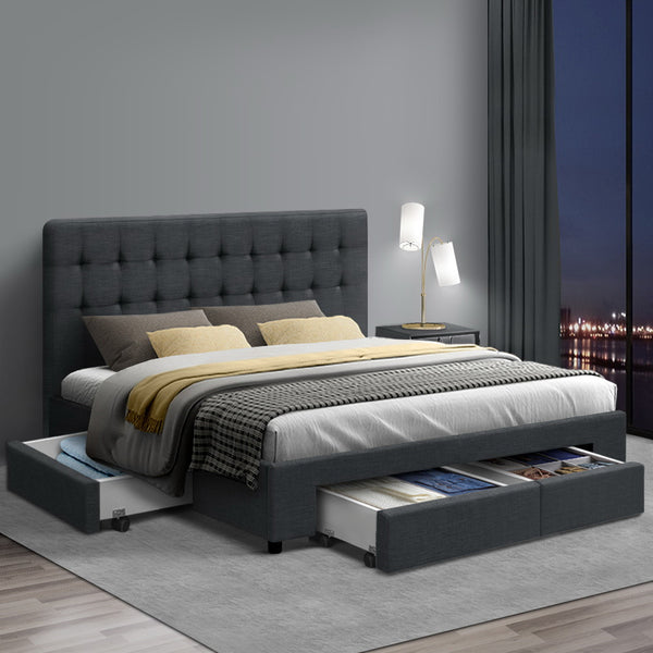 Artiss Double Size Fabric Bed Frame Headboard with Drawers  - Charcoal