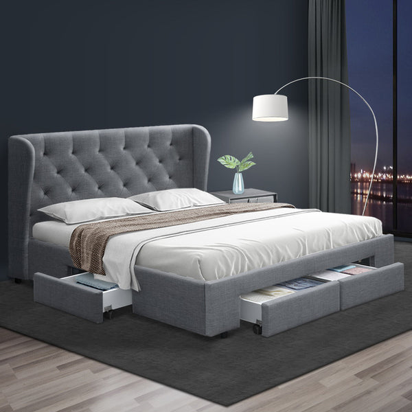 Artiss Double Full Size Bed Frame Base Mattress With Storage Drawer Grey Fabric MILA