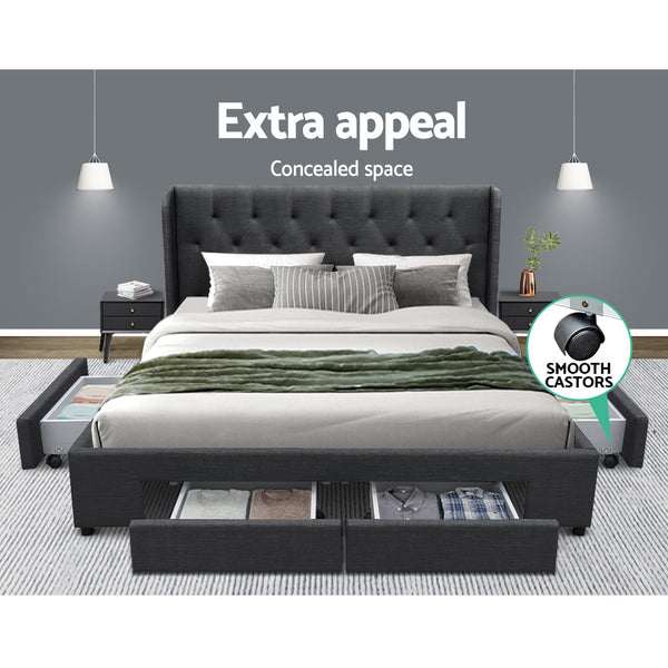 Artiss Queen Size Bed Frame Base Mattress With Storage Drawer Charcoal Fabric MILA