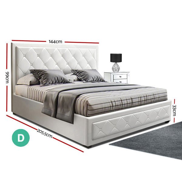Artiss TIYO Double Full Size Gas Lift Bed Frame Base With Storage Mattress White Leather