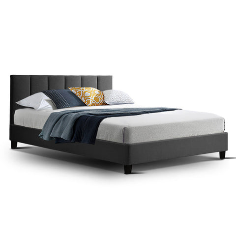 ANNA Bed Frame Double Size Mattress Base Platform Fabric Wooden Charcoal