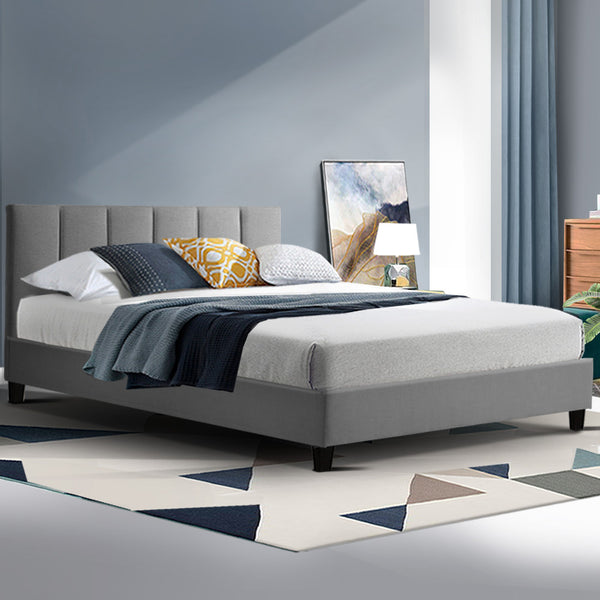 ANNA Bed Frame Double Size Mattress Base Platform Fabric Wooden Grey