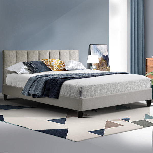 ANNA Bed Frame Queen Size Mattress Base Platform Fabric Wooden Beige